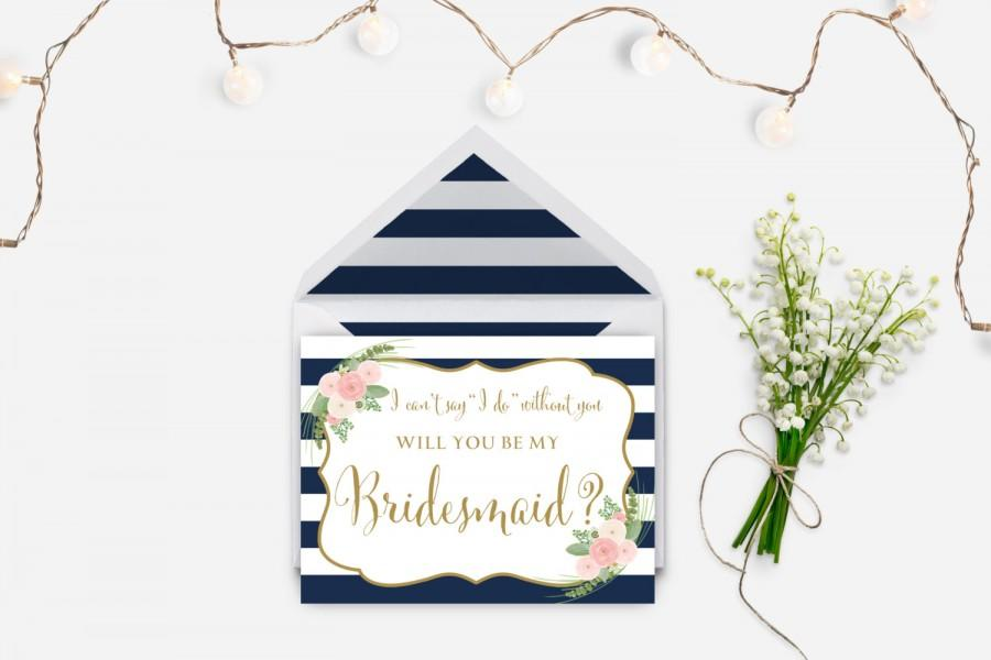 Hochzeit - Will you my bridesmaid card printable, Card to ask bridesmaid, I can't say I do without you card, striped navy card, The Shirley collection