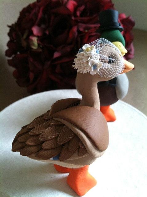 Mariage - custom Mallard Duck wedding cake topper