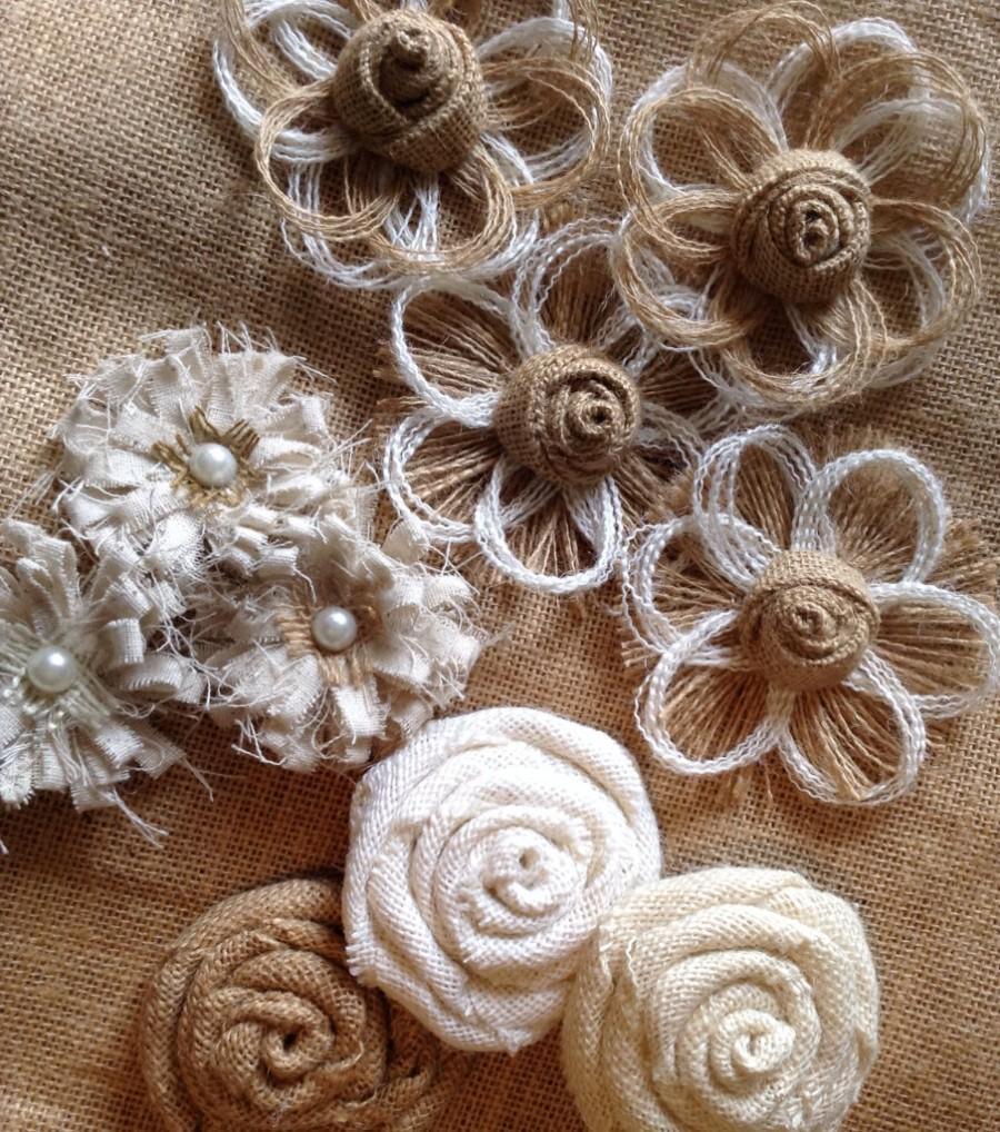 Burlap Flower Assortment - Set Of 10 - Shabby Chic - Rustic ...