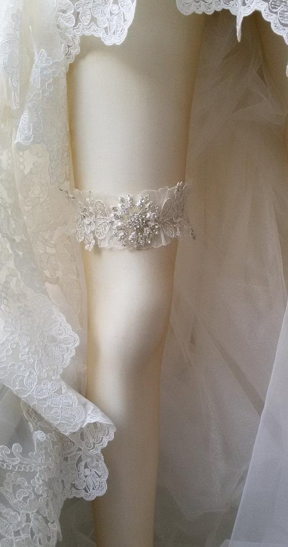 Hochzeit - Wedding Garter, Wedding leg garter, Wedding Leg Belt, Rustic Wedding Garter, Bridal Garter , İvory Lace garter, Lace Garter,