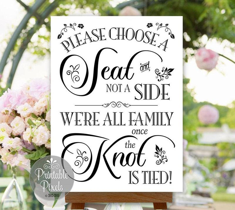Choose A Seat Not Side Wedding Sign Printable No Seating Plan Instant Nsp6b