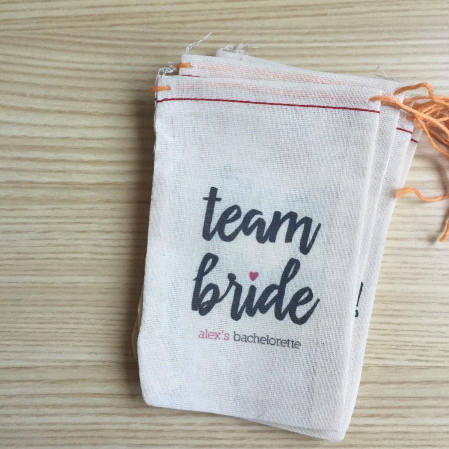 Hochzeit - 4x6 Mini Muslin Bags for Bachelorette Kits - Hangover, Party Kit