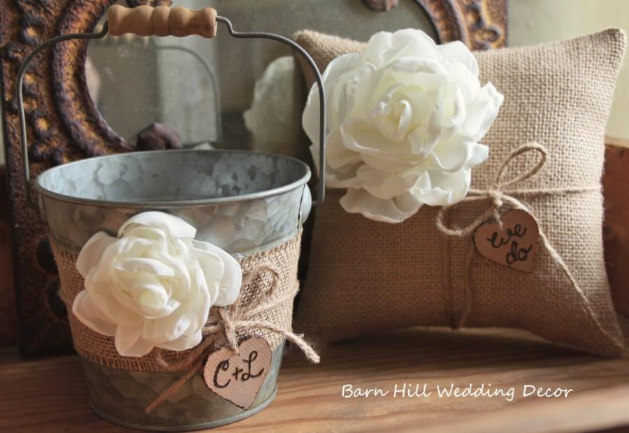 c5ff7394b Flower Girl Basket Bucket Ring Bearer Pillow Set Wedding Rustic Wedding  Burlap Shabby Chic Basket and Pillow Set