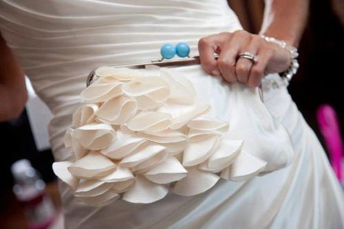 Mariage - Avant Garde Bridal and Bridesmaid Clutch Purse- Ivory/Blue - Made to Order