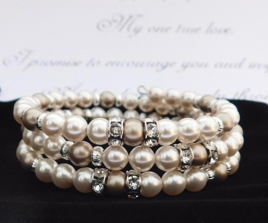 Wedding - Pearl Bracelet Handmade with Swarovski Pearls. Pearl Bridal Bracelet. Wedding Bracelet. Wrap Bracelet. Rhinestone Bracelet. Formal Jewelry