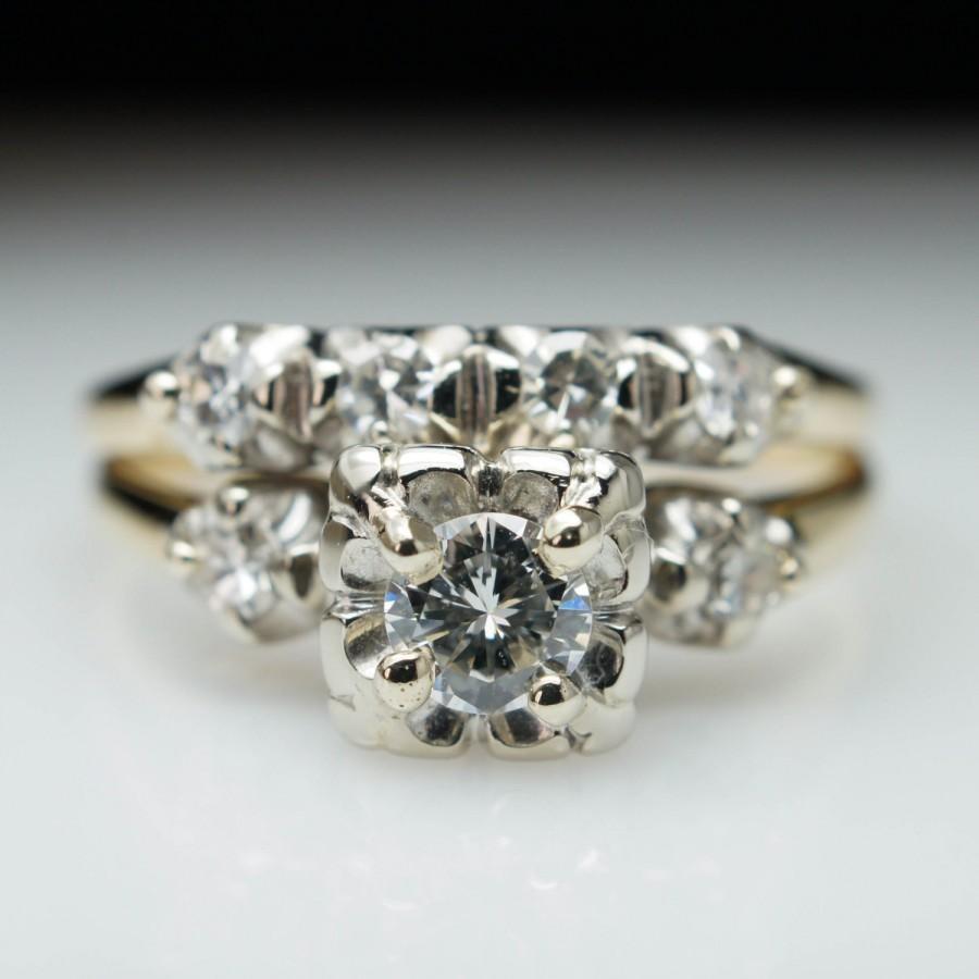 Mariage - Vintage .55ctw Diamond Illusion Set Engagement Ring & Matching Band Set - Size 7 - Free Sizing - Layaway Available