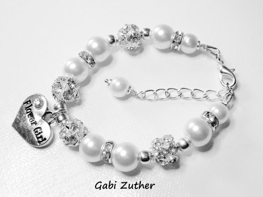 Свадьба - Flower Girl Bracelet, Little Girls Wedding Jewelry, Sparkling White Pearl Charm Bling Bracelet,