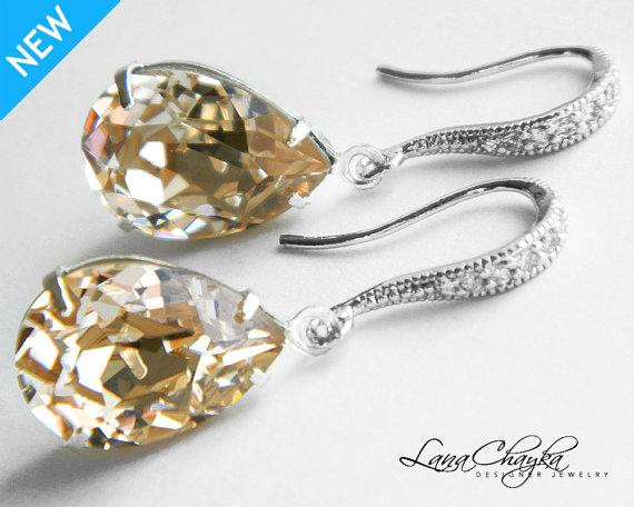 Свадьба - Champagne Crystal Earrings Bridesmaid Teardrop Rhinestone Earrings Swarovski Light Silk Earrings Champagne Silver CZ Earring Wedding Jewelry