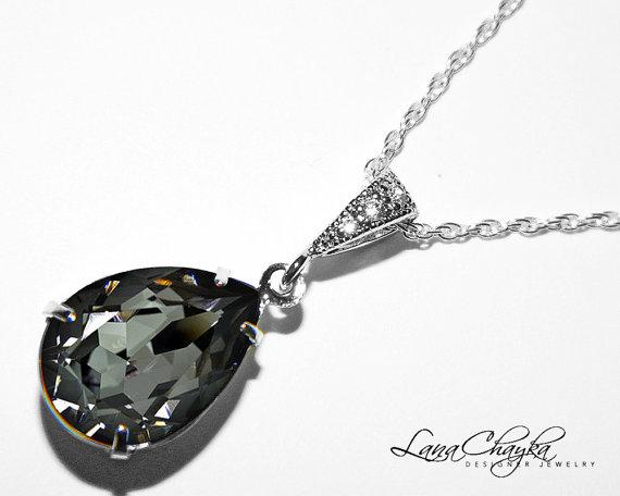 26f1ca7439262 Silver Night Crystal Necklace Dark Grey Rhinestone Necklace ...