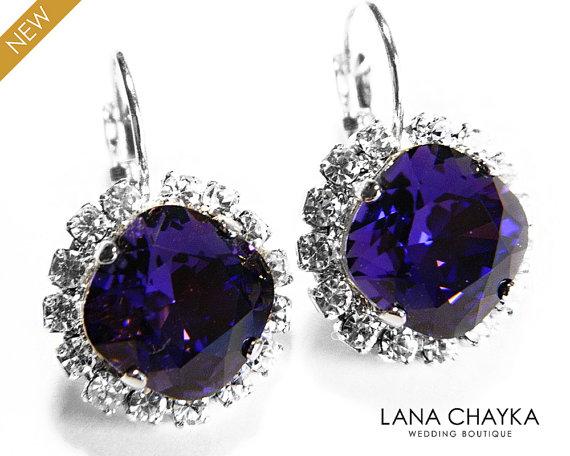 Hochzeit - Dark Violet Crystal Halo Earrings Swarovski Purple Velvet Rhinestone Violet Leverback Sparkly Earrings Deep Violet Jewelry Wedding Earrings