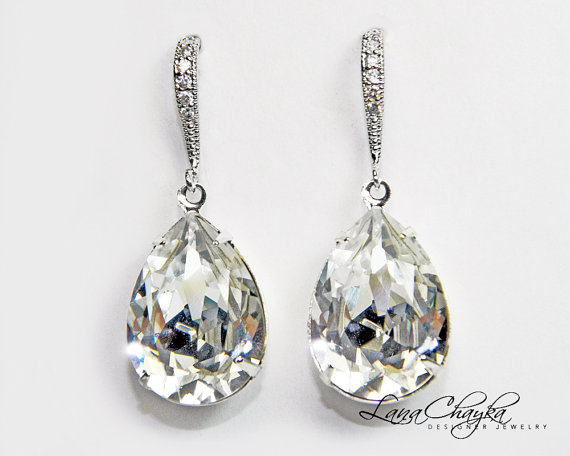 Mariage - Wedding Crystal Teardrop Earrings Swarovski Rhinestone Silver Cz Bridal Dangle Earrings Sparkly Wedding Earrings Bridesmaid Crystal Jewelry