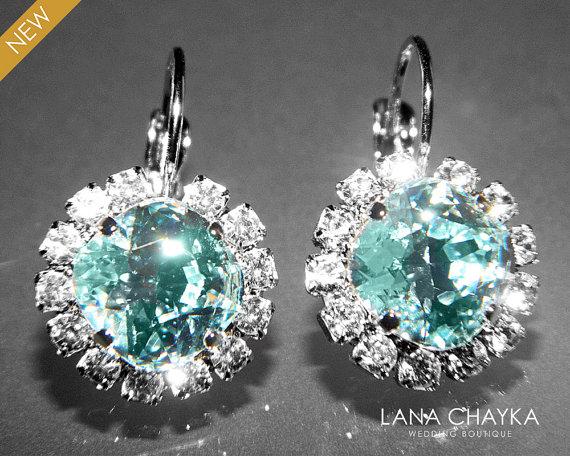 Light Azore Halo Crystal Earrings Swarovski Rhinestone Silver Ice Blue Leverback Hypoallergenic Bridesmaid Jewelry Wedding