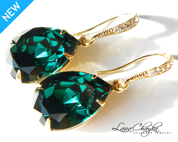 Emerald Green Crystal Earrings Vermeil Gold Cz Swarovski Rhinestone Wedding Teardrop