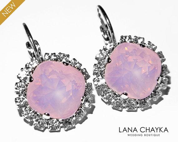 Свадьба - Rose Water Opal Halo Earrings Swarovski Pink Opal Crystal Rhinestone Silver Earrings Light Pink Leverback Hypoallergenic Earrings Weddings
