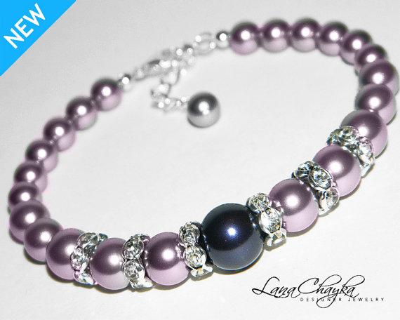 زفاف - Mauve Light Purple Pearl Bracelet Purple Pearl Wedding Bracelet Swarovski Pearl Bracelet Wedding Jewelry Purple Pearl Jewelry Bridal Jewelry