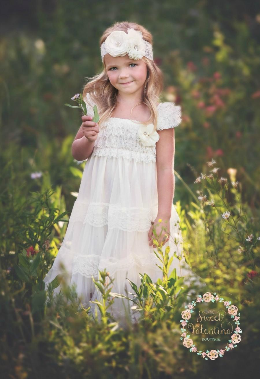 زفاف - Ivory Lace Flower Girl Dress, Vintage Flower Girl Dress, Shabby Chic Flower Girl Dress,Rustic Flower Girl Dress,Ivory lace flower girl dress