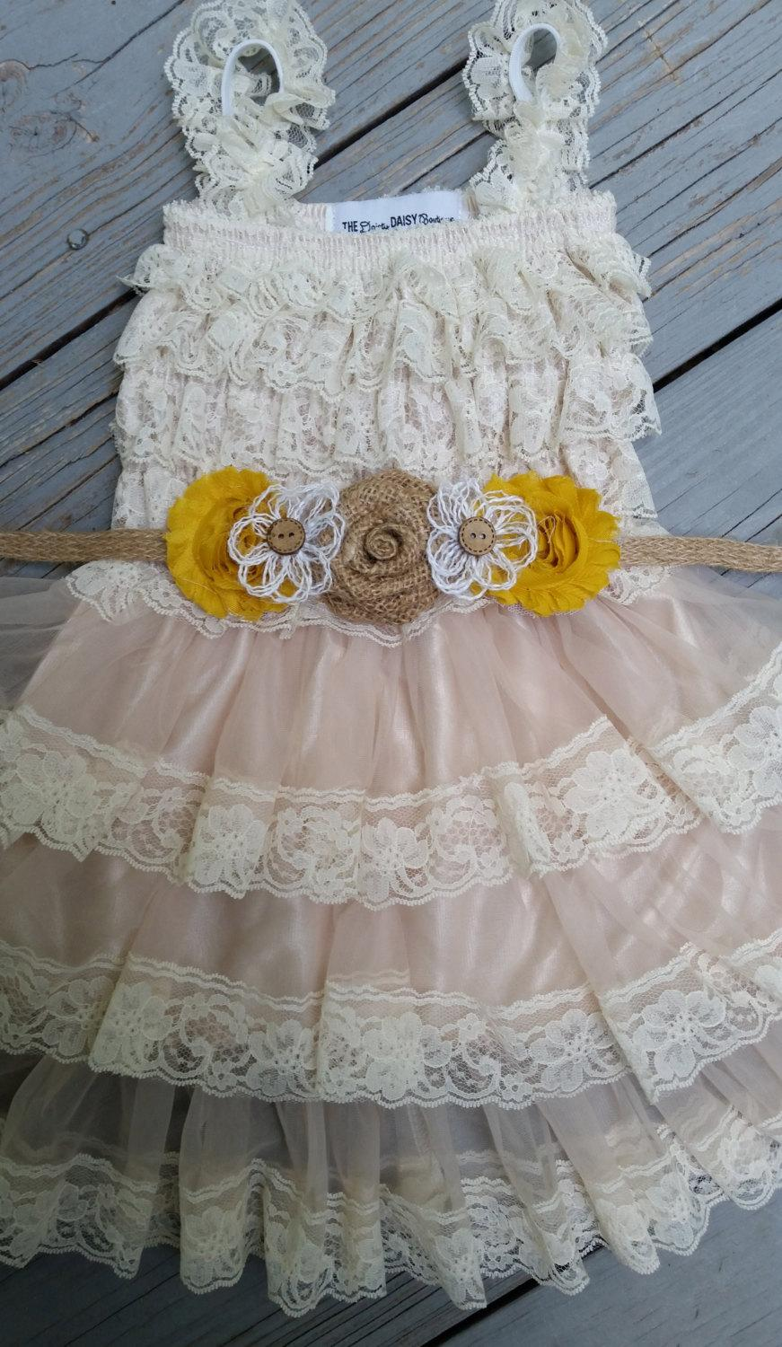 ab6dfe66b1b Shabby Chic Mustard Yellow Flower Girl Dress Rustic Flower Girl-Burlap Flower  Girl Country Wedding-Flower Girl Dress-Sunflower Wedding
