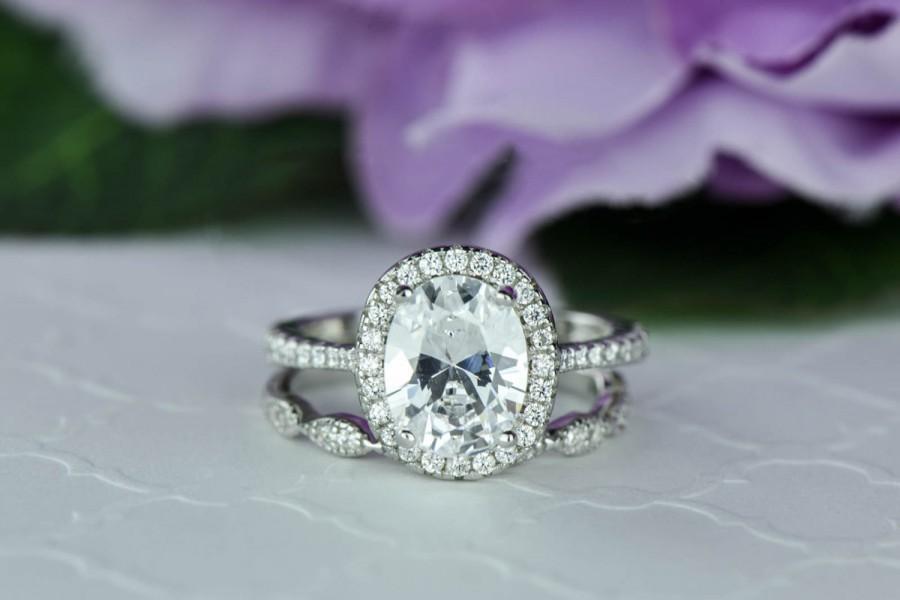 Mariage - 2.25 ctw, Oval Bridal Set, Vintage Style Engagement Ring, Man Made Diamond Simulants, Art Deco Ring, Halo Engagement Ring, Sterling Silver