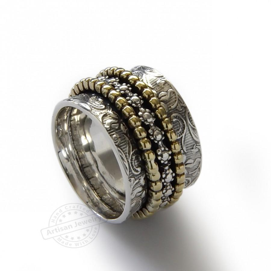 17b12ce32ace9 Floral Spinners Band, Brass And Sterling Silver, Infinity Ring ...