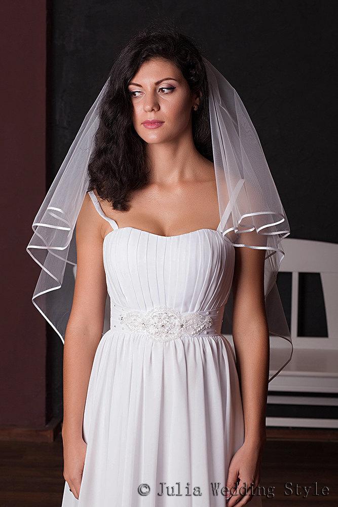 Hochzeit - Ribbon edge,Hip Length,2 tier veil,white veil,white tulle veil, Circle Veil, Two Tier Bridal Veil,Custom veil,Veil Bridal with satin Ribbon