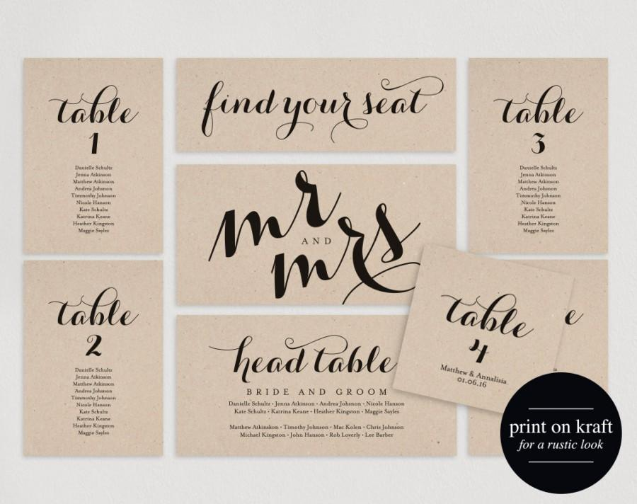 Wedding Seating Chart Plan Template Cards Table Pdf Instant