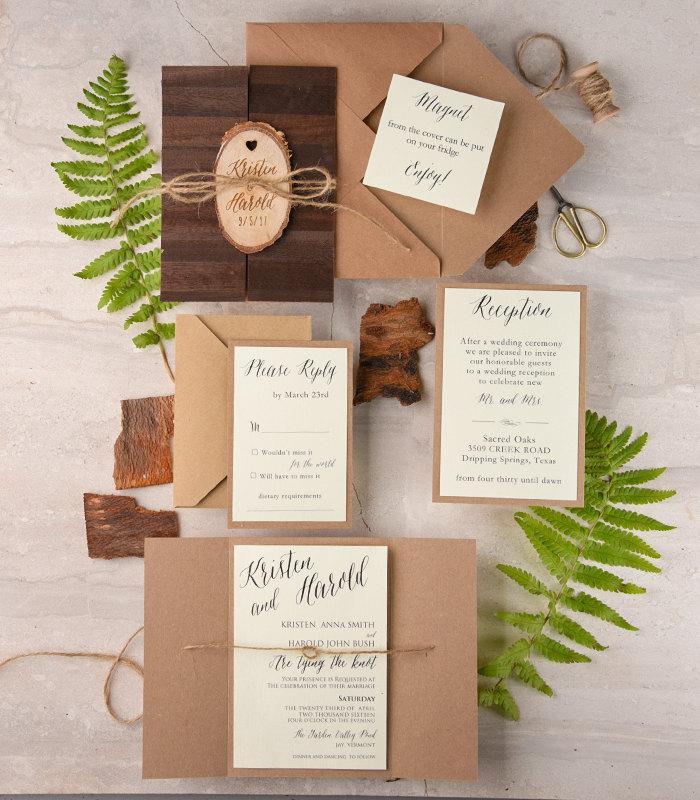Rustic Wedding Invitation And Rsvp (20), Real Wood Wedding ...