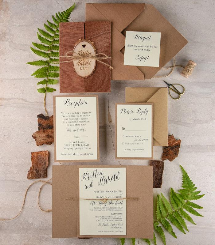 Mariage - Real Wood Wedding Invitation and Rsvp (20), Rustic Wedding Invitation Suite, Engraved Wedding Invitation Set, Wedding Invitation with Rsvp