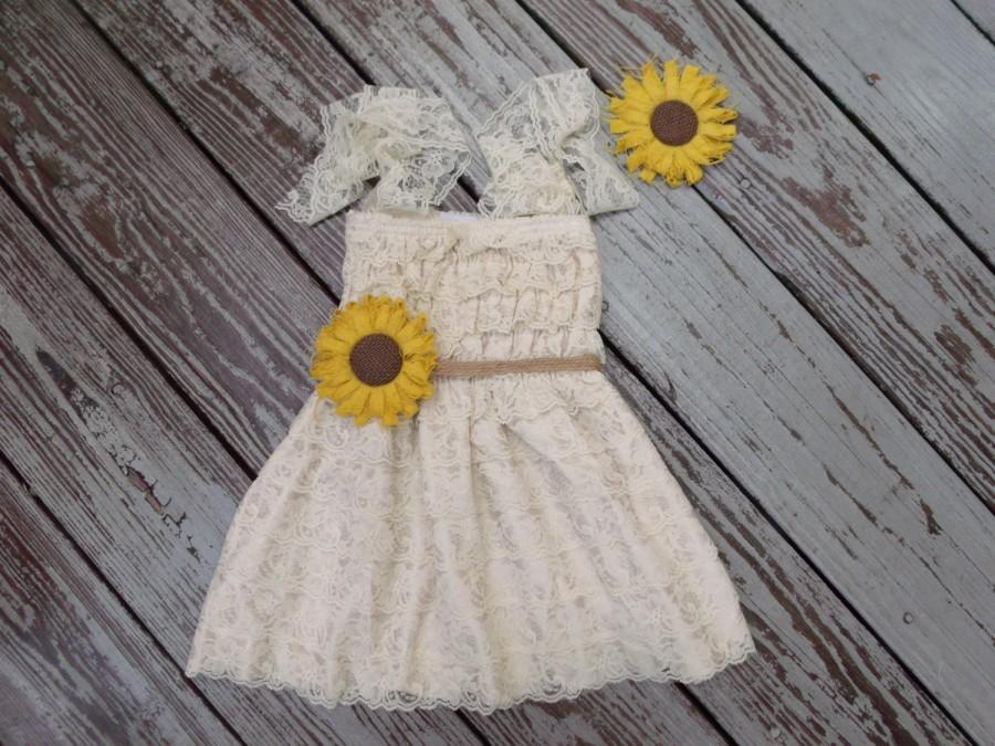 زفاف - Rustic Sunflower Flower Girl Dress - Rustic Flower Girl Dress- Flower Girl-Sunflower Flower Girl-Birthday Dress- Dress-Country Wedding