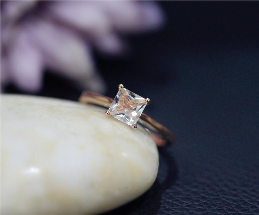 Wedding - Petite Gem Ring! Princess 6mm Natural VS Morganite Ring Solid 14K Rose Gold Ring Wedding Ring Promise Ring Anniversary Ring Engagement Ring
