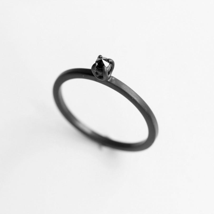 Hochzeit - Diamond thorn . black diamond oxidized sterling silver ring