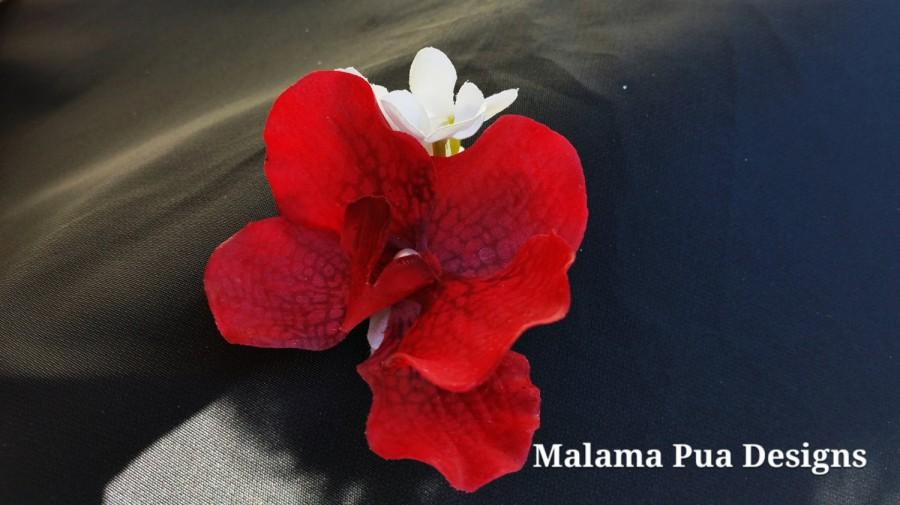 Hochzeit - TROPICAL RED ORCHID, Wedding Hair Clip, Hair Accessory, Freshwater Pearl Center, Bridal Flower, Silk Hair flowers, Beach Wedding, Fascinator