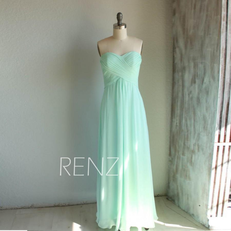 Wedding - 2016 Mint Bridesmaid Dress, Long Wedding dress, Empire Chiffon Prom Dress,Dusty Shale Sweetheart Strapless Formal Dress (B066A)-Renzrags