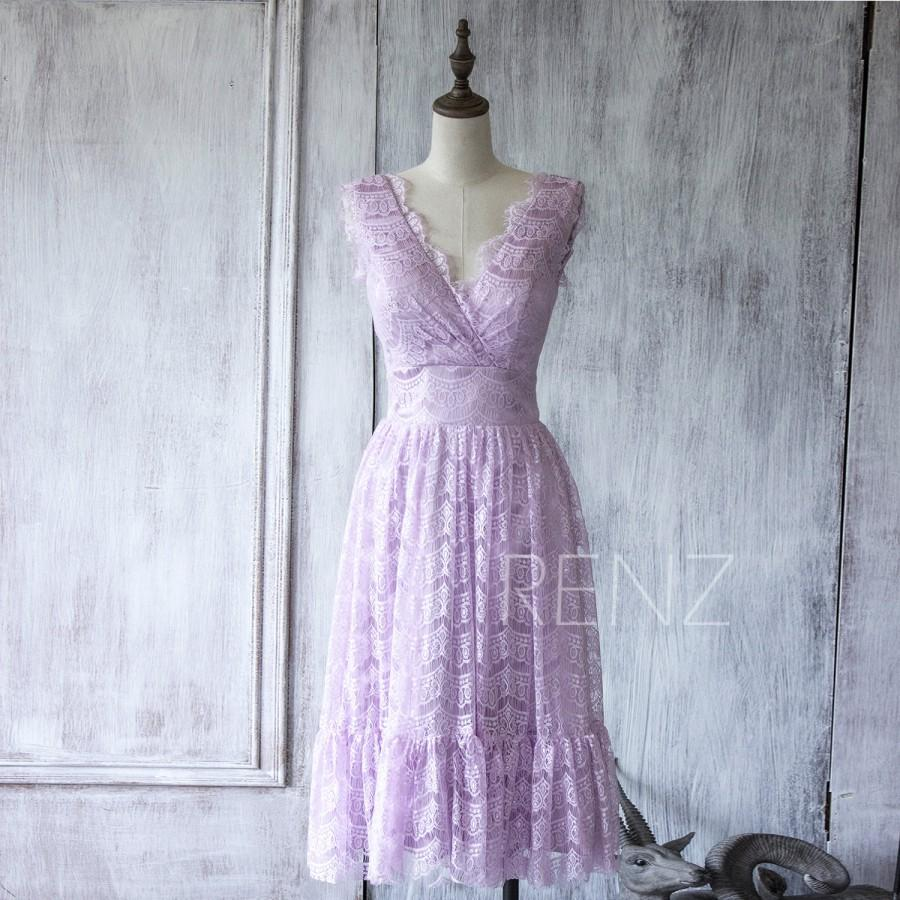 2016 Light Purple Lace Bridesmaid Dress Short Orchid Elegant Scalloped V Neck Prom Wedding Knee Length Party Fl159