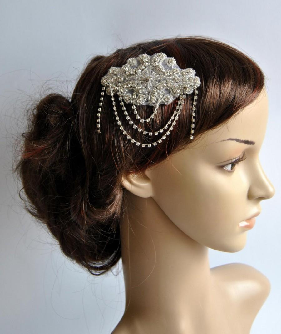Свадьба - Crystal Bridal Art Deco Hair Comb, Downton Abbey, Great Gatsby, Vintage Inspired Hairpiece, Bridal Hair Accessory, Crystal Headpiece