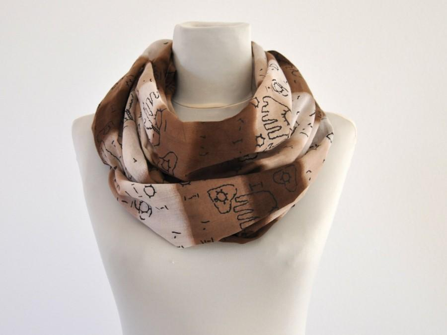Mariage - Womens Accessories Scarf Long Cotton Dark Brown Light Brown Striped