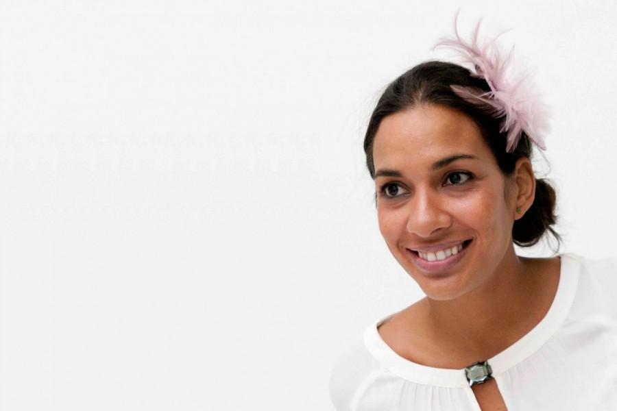 Hochzeit - Freuchie - Pale Pink Fascinator made with Straw, Organza Flower and Feathers