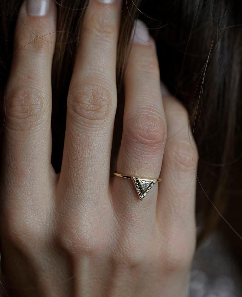 Wedding - Diamond Engagement Ring With Pave Diamonds,Trillion Wedding Ring, 0.2 Carat Diamond BAnd, 18k Solid Gold