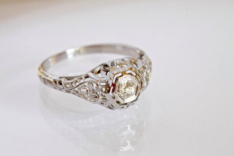 Mariage - Antique Art Nouveau Art Deco Diamond Engagement Ring 18K White Gold Ostby Barton European Cut Diamond Alternative Engagement Wedding Ring