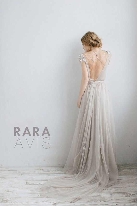 Wedding dress ivanel bridal dress beach wedding dress for Gray dresses for a wedding