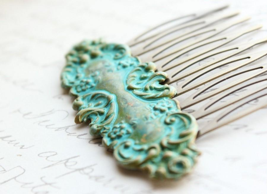 Mariage - Verdigris Patina Comb French Romantic Floral Hair Comb Lace Design Vintage Style Hair Accessories Teal Turquoise Rustic Patina Comb