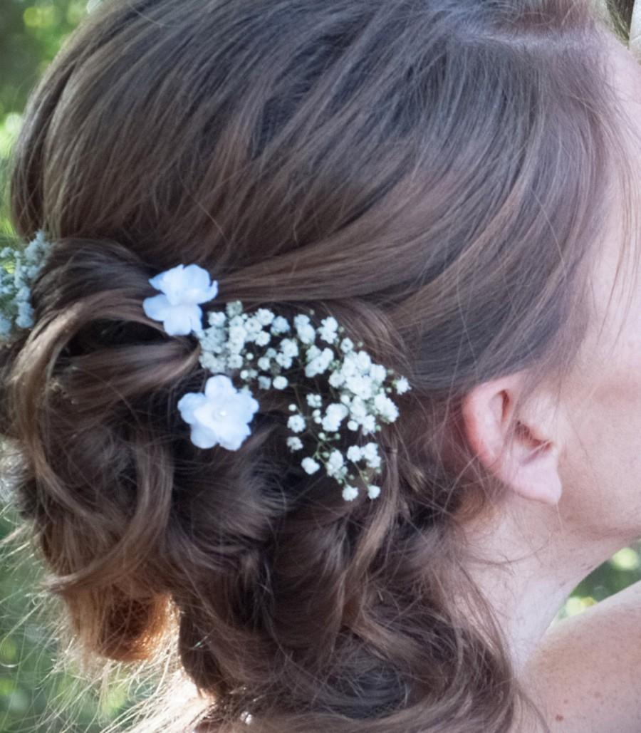 Small White Flower Hair Pins Set Of Two Wedding Bridal