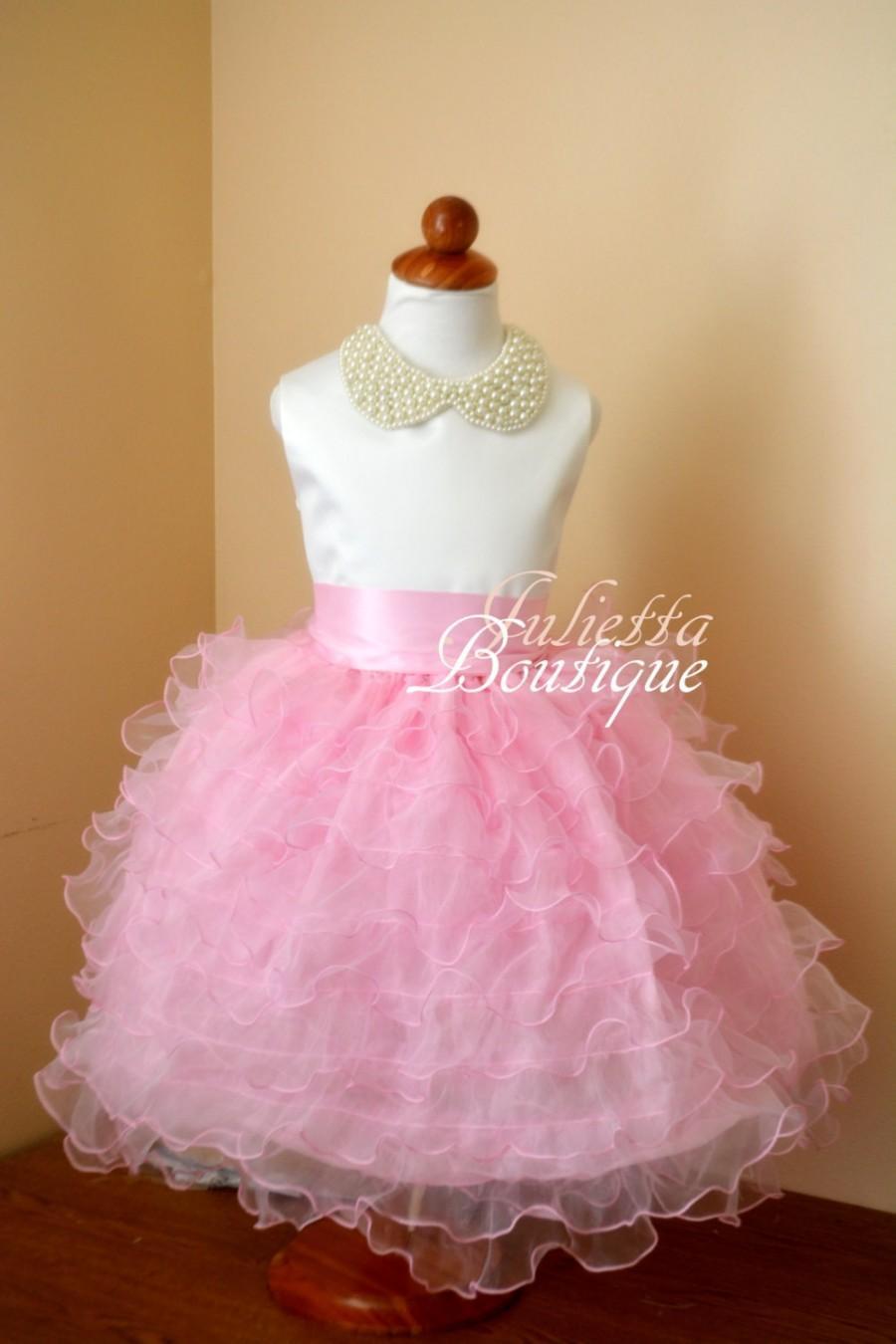 Свадьба - Beading Ruffled Flower Girl Dress -Ivory flower girl dress -junior bridesmaid dress - Baby Dress - Pink Flower girl Dress- flower girl dress