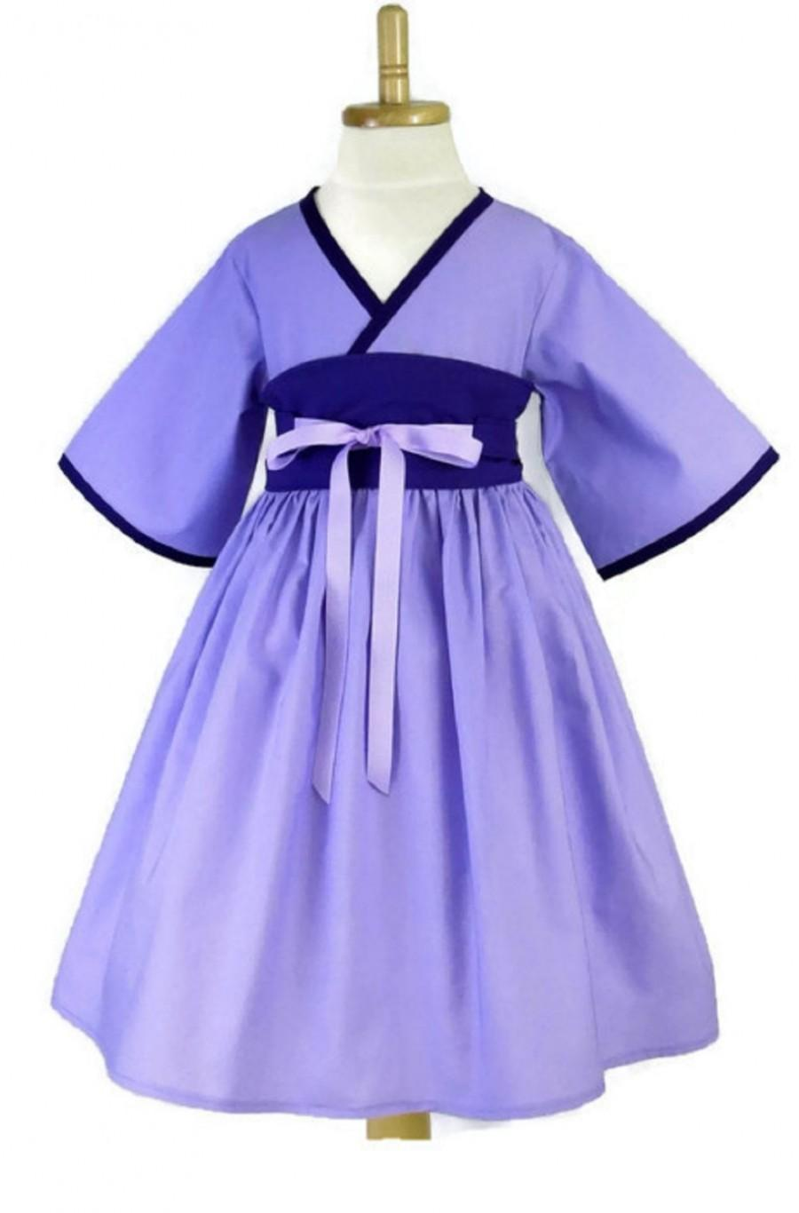 kimono dress girls dress purple dress girls birthday