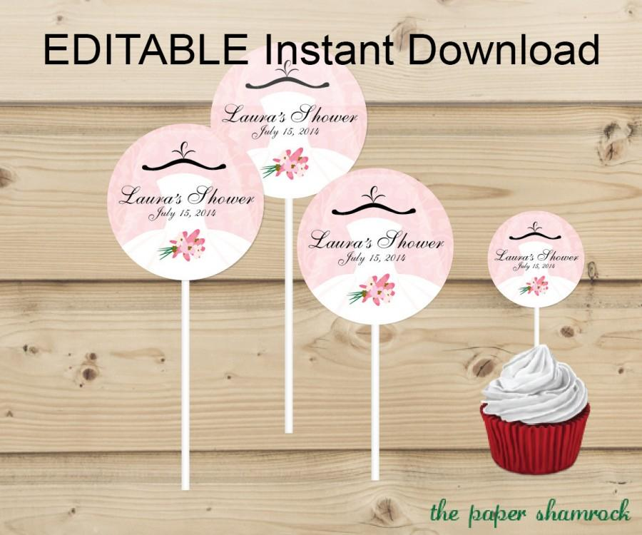 editable instant download bridal shower wedding shower cupcake topper custom cupcake toppers personalized cupcake topper