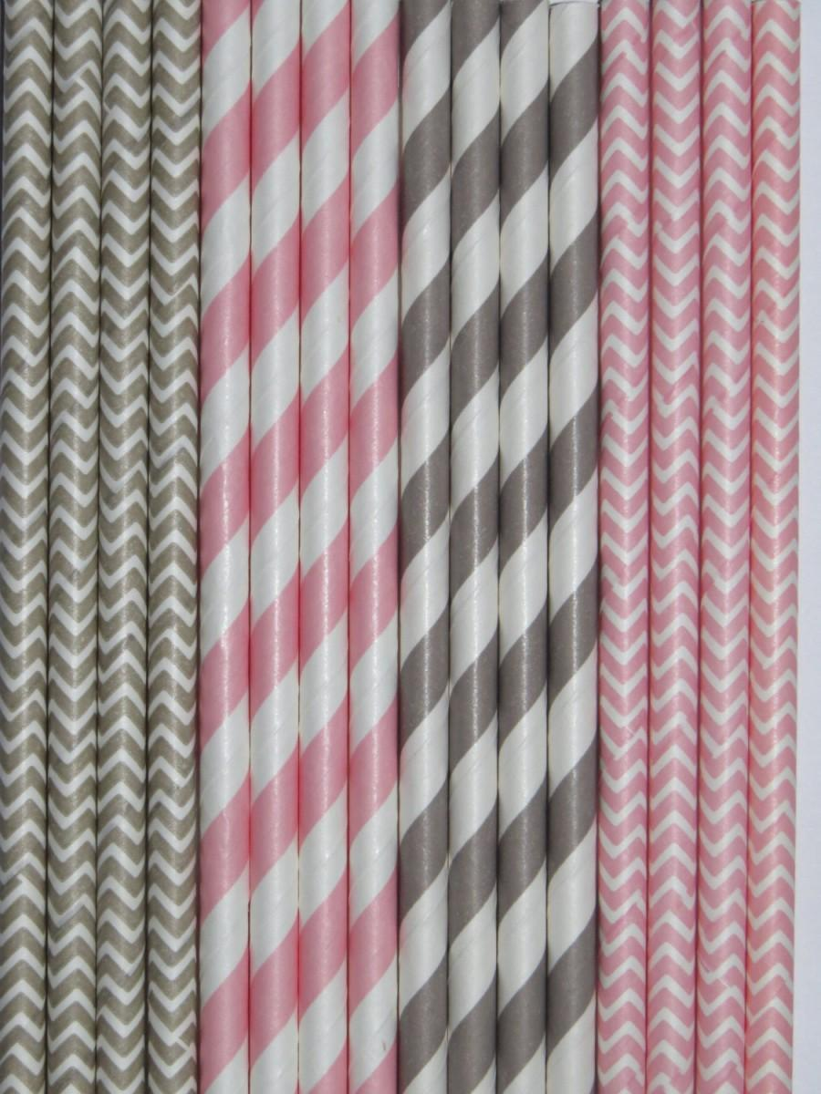 Свадьба - LIGHT PINK & GREY Paper Straws Mix Stripes + Chevron DiY Flags- Wedding Kids Birthday Baby Shower Princess Party Ships Fast!Free Tracking