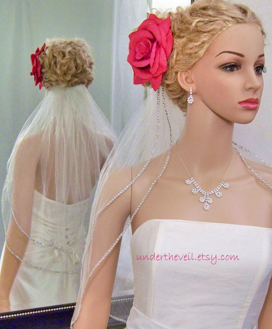 Mariage - GENUINE CRYSTAL Rhinestone Edge Veil,  2-tier, Elbow/Waist Length, Very beautiful