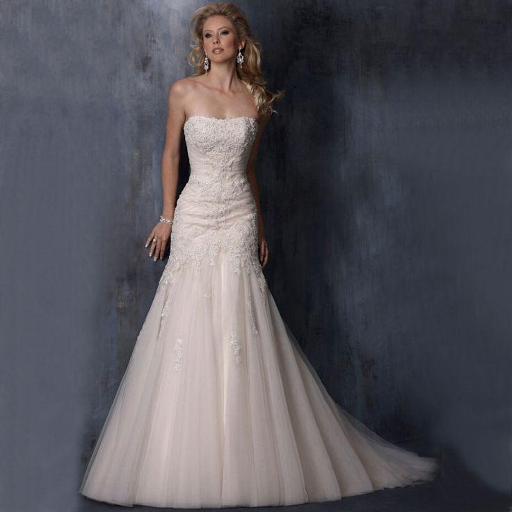 Свадьба - Beaded Lace Strapless Mermaid Wedding Dress