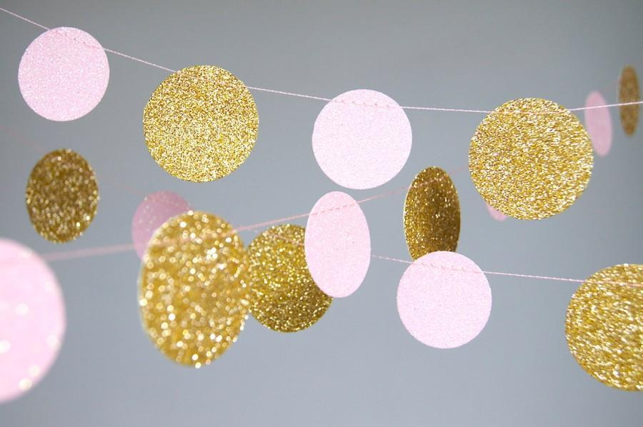 Свадьба - Garland, Glitter Paper Garland, Gold and Pink, Gold and Blush, Bridal Shower, Baby Shower, Birthday Decor, Pink and Gold Birthday