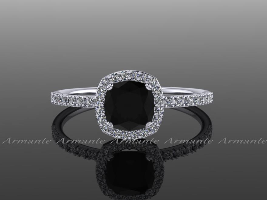 Wedding - Halo Diamond Black Moissanite Engagement Ring Cushion Cut 14k White Gold Wedding Ring,  Re00082