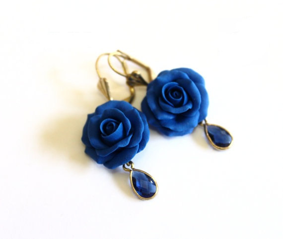 Wedding - Blue Rose Drop Earrings, Royal Blue flower drop earrings, Blue jewelry, Blue Rose Wedding Earrings, Blue Bridesmaid Jewelry, Bridal Flowers